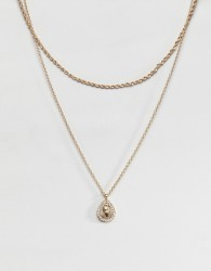 ASOS DESIGN multirow necklace with crystal teardrop vintage style icon pendant in gold - Gold