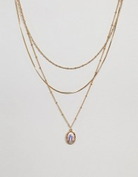 ASOS DESIGN multirow necklace with delicate chain and vintage style icon charm in gold - Gold