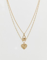 ASOS DESIGN multirow necklace with engraved heart and padlock pendants in gold tone - Gold