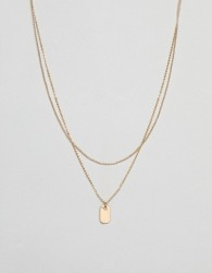 ASOS DESIGN multirow necklace with mini tag pendant in gold - Gold