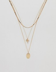 ASOS DESIGN multirow necklace with mixed chains and vintage style charms in gold - Gold