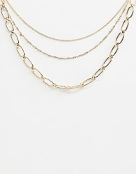 ASOS DESIGN multirow necklace with open link and dot dash chain in gold - Gold