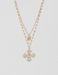 ASOS DESIGN multirow necklace with pearls and vintage style jewel cross pendant in gold - Gold