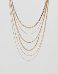 ASOS DESIGN multirow necklace with vintage style chains in gold - Gold