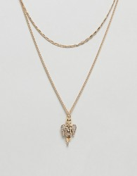 ASOS DESIGN multirow necklace with vintage style cherub pendant in gold - Gold