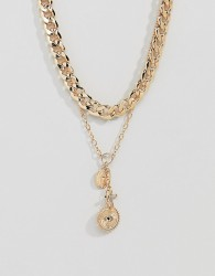ASOS DESIGN multirow necklace with vintage style cluster charms in gold - Gold