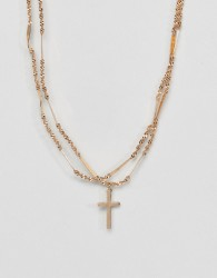 ASOS DESIGN multirow necklace with vintage style cross and twist chain in gold - Gold