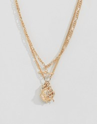 ASOS DESIGN multirow necklace with vintage style toggle charms in gold - Gold