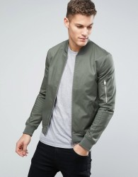 ASOS DESIGN muscle fit bomber jacket with sleeve zip in khaki - Green
