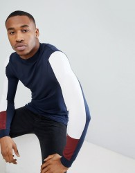 ASOS DESIGN muscle fit long sleeve t-shirt with turtle neck and arm panels - Multi