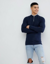 ASOS DESIGN muscle fit pique long sleeve t-shirt with zip neck and tipping in navy - Multi