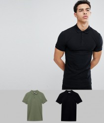 ASOS DESIGN muscle fit pique polo 2 pack SAVE - Multi