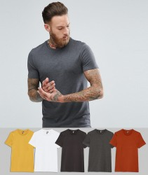 ASOS DESIGN muscle fit t-shirt with crew neck 5 pack save - Multi