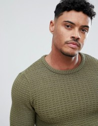 ASOS DESIGN Muscle Fit Textured Jumper In Khaki - Green
