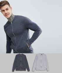 ASOS DESIGN muscle jersey bomber jacket 2 pack charcoal/grey marl - Multi