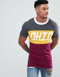 ASOS DESIGN muscle longline t-shirt with colour block & city print - Black