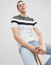 ASOS DESIGN muscle t-shirt with cut and sew panels in white - White