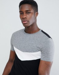 ASOS DESIGN muscle t-shirt with roll sleeve and chevron colour block in twisted jersey - Grey