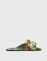 ASOS DESIGN Nalani asymmetric animal and palm leaf co-ord satin slippers - Multi