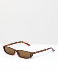 ASOS DESIGN narrow frame square sunglasses in tort - Brown