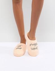 ASOS DESIGN Nearly Bedtime Slogan Slippers - Orange