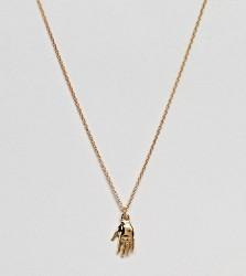 ASOS DESIGN necklace in gold plated sterling silver with vintage style hand pendant - Gold