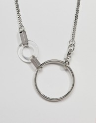 ASOS DESIGN necklace in large metal and resin link design in silver - Silver