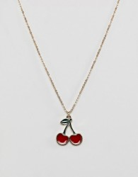 ASOS DESIGN necklace with cherry charm in gold - Gold