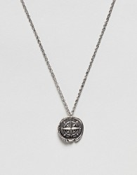 ASOS DESIGN necklace with compass coin in burnished silver tone - Silver