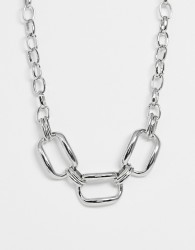 ASOS DESIGN necklace with oversized hardware link design in silver tone - Silver