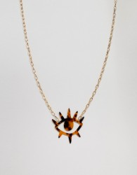ASOS DESIGN necklace with resin eye motif design - Gold