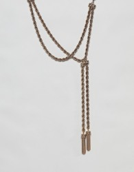 ASOS DESIGN necklace with rope chain and off centre toggle design in gold - Gold