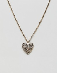 ASOS DESIGN necklace with vintage style heart locket and bug design in gold - Gold