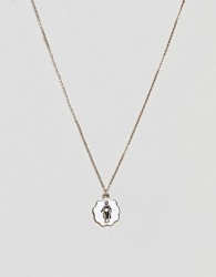 ASOS DESIGN necklace with vintage style icon pendant in gold - Gold