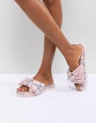 ASOS DESIGN Nene Knot Slider Slippers - Pink