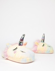 ASOS DESIGN Nevada Starlight sequin unicorn slippers - Multi