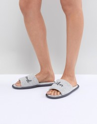 ASOS DESIGN Nexon Weekend Vibes Towelling Slippers - Grey