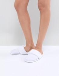 ASOS DESIGN Nina Waffle Hotel Slippers - White