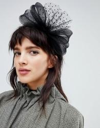 ASOS DESIGN Occasion Polka Dot Mesh Bow Fascinator Headband - Black