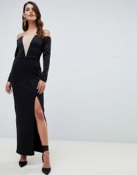 ASOS DESIGN off shoulder maxi dress with mesh insert - Black