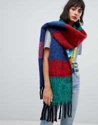 ASOS DESIGN oversized bright fluffy scarf in stripe - Multi