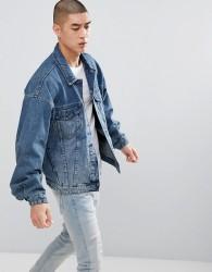 ASOS DESIGN oversized denim jacket in mid wash - Blue