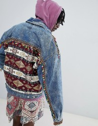 ASOS DESIGN oversized denim jacket with back print and beading - Blue