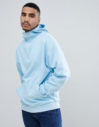 ASOS DESIGN oversized hoodie with deep modesty v - Blue