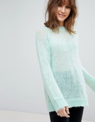 ASOS DESIGN oversized jumper in fluffy yarn - Green