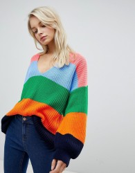 ASOS DESIGN oversized jumper in stripe with v neck - Multi