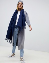 ASOS DESIGN oversized lambswool scarf with tassels - Navy