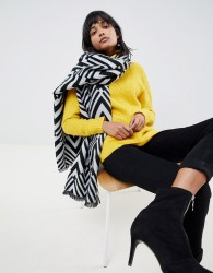 ASOS DESIGN oversized long blocked zigzag scarf in mono - Multi