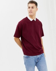 ASOS DESIGN oversized polo shirt in heavyweight pique fabric with inserted neck in burgundy - Red