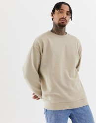 ASOS DESIGN oversized sweatshirt in beige - Beige